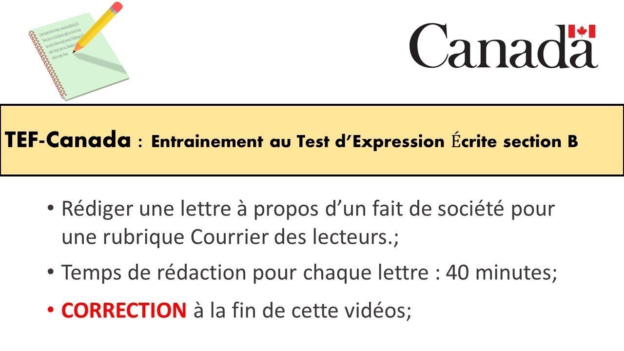 TEF CANADA : Préparation 1 au Test d'Expression Écrite section B