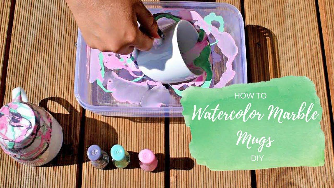 DIY - How to make Nail polish Water Marble Mugs tutorial - YouTube