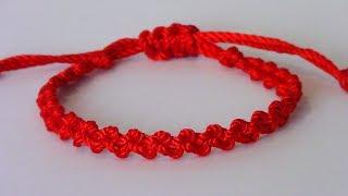 Pulsera roja nudo simple macramé