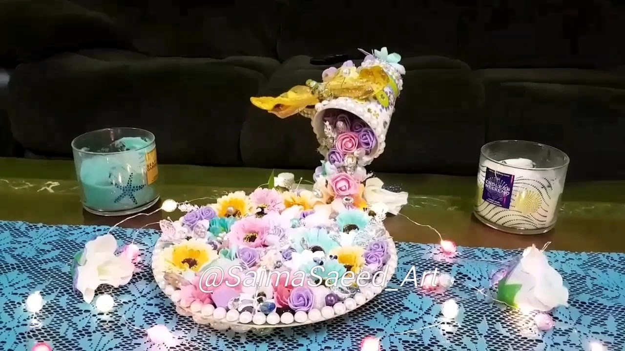 Diy floating tea cup ☕ with flowers 🌸🌼🌹beads sequins youtube