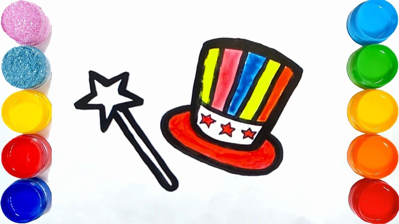 Coloring Magic Set For Kids How To Draw Magic Hat Magic Stick Too Co Color Magic Magic Sets Magic Stick