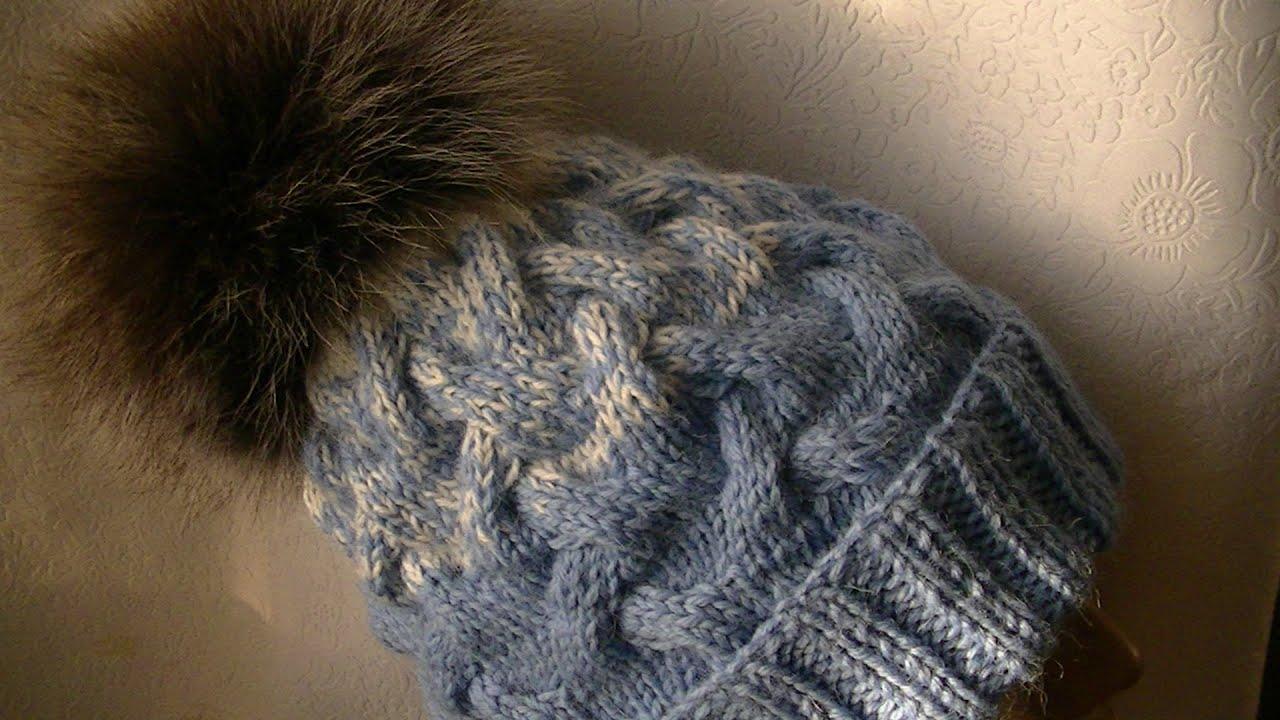 шапка вязаная с помпоном и косами спицами женская схема