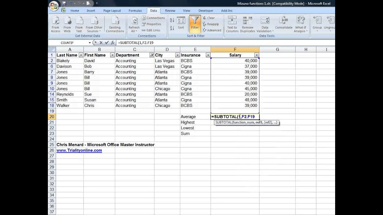 using excel u0026 39 s subtotal function with filters in excel