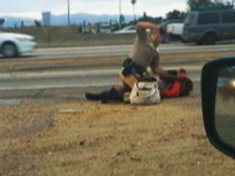Video: Officer Beats Woman on LA Freeway