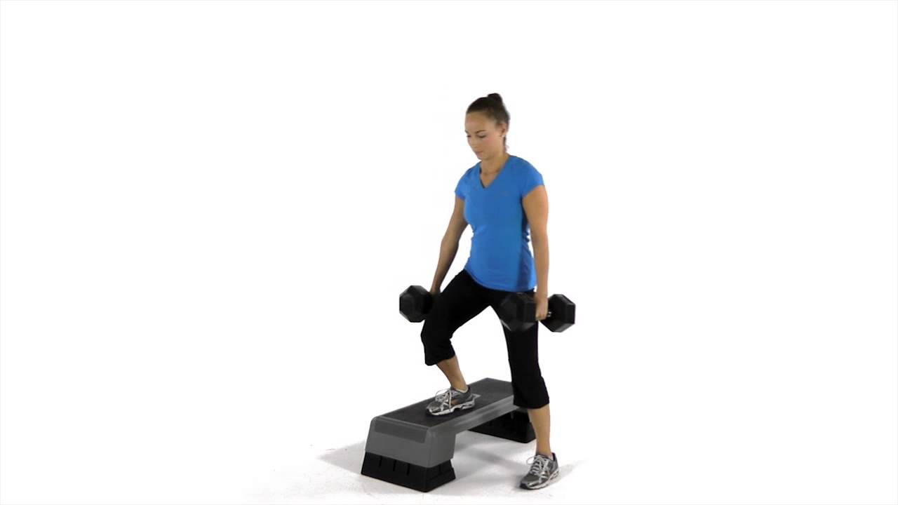 Lateral step-up with dumbbells - YouTube