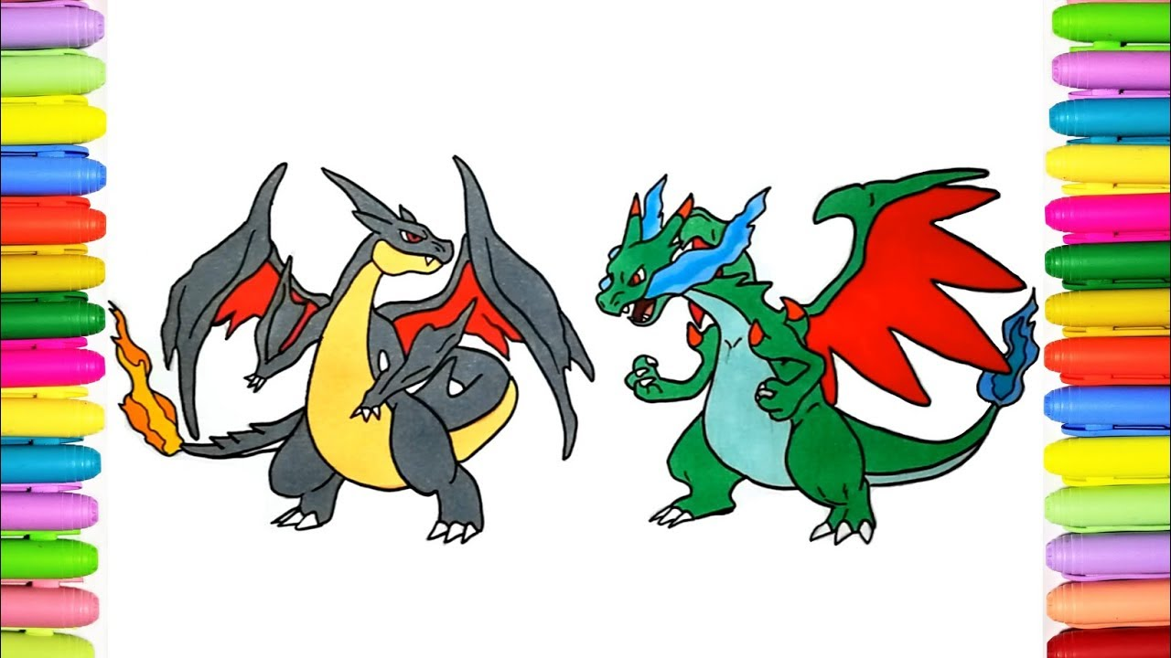 Pokemon Coloring Pages For Kids Shiny Charizard X And Y Youtube