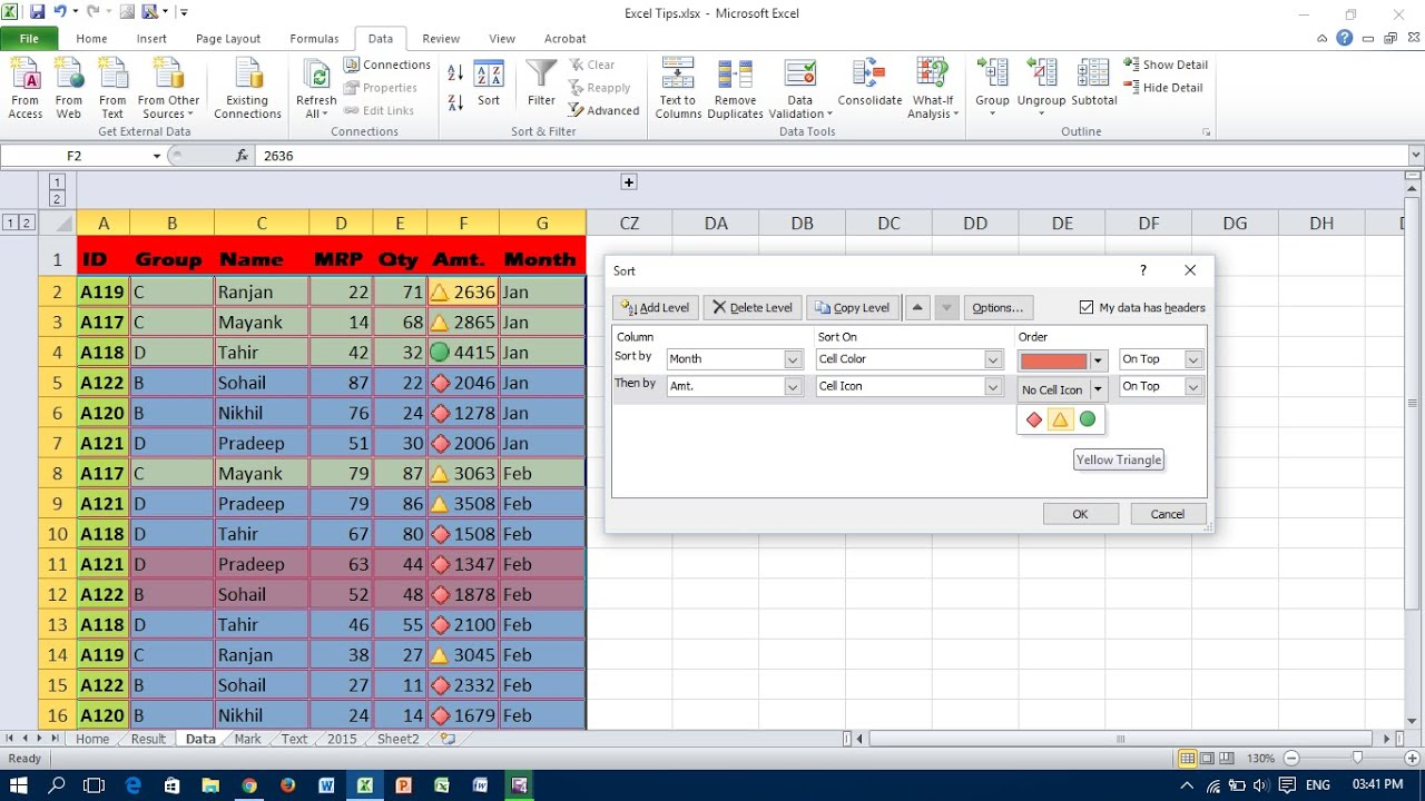 Sort A Data Range In Excel