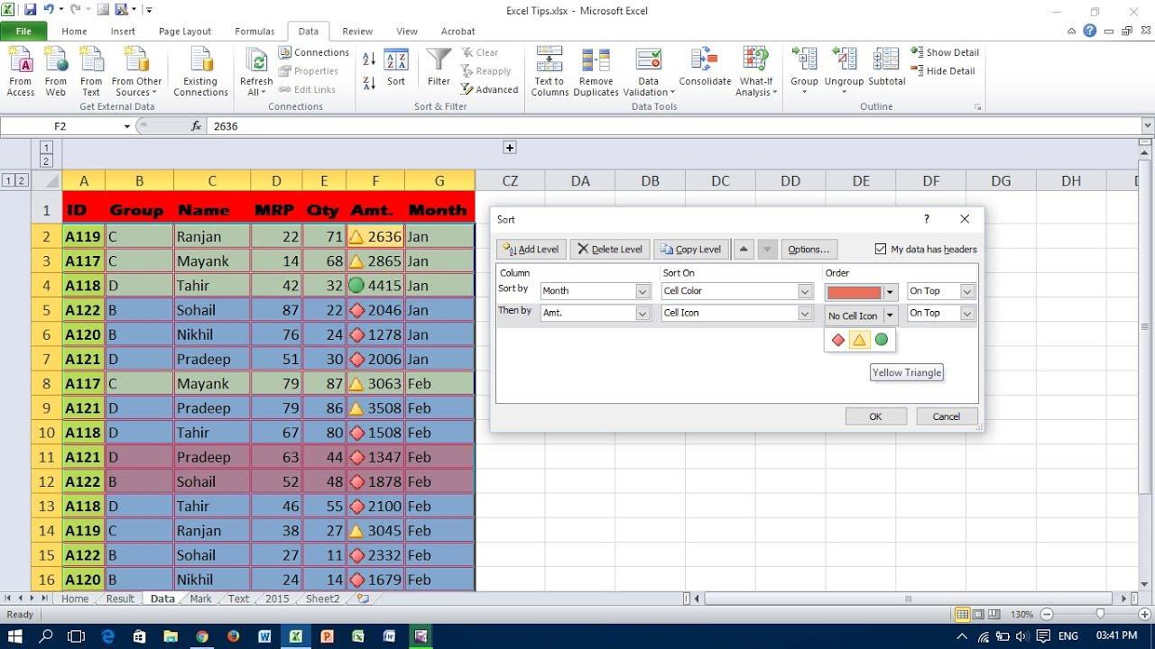 Sort A Data Range In Excel