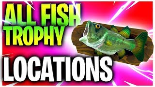 """""""Dance with a fish trophy at different Named Locations"""" - All 7 Fish Trophy Locations!"""