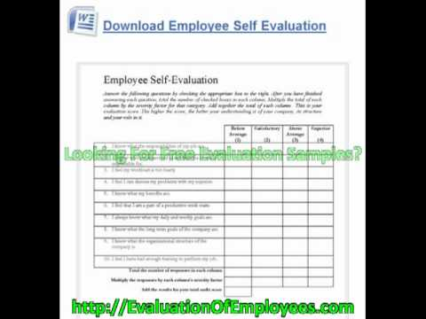 Free Employee Evaluation Forms   YouTube  Employee Self Evaluation Forms Free