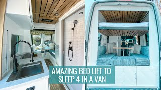 FAMILY VAN TOUR: amazing bed lift that sleeps 4 with a full bathroom   SPRINTER VAN CONVERSION