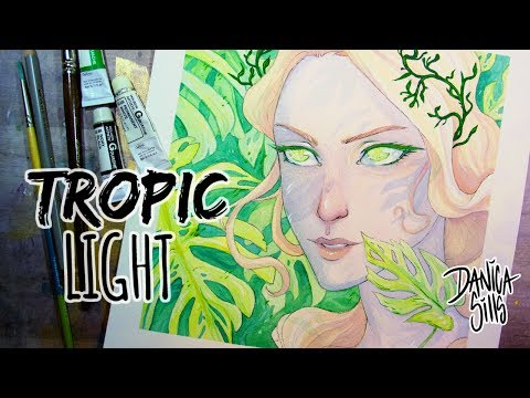 Tropic Light ♦ Watercolor and Gouache Painting ♦ Art Chat & Speedpaint