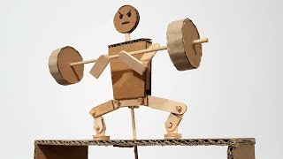 How To Make A Funny Kinetic Man Doing Squats With Barbell From Cardboard And Popsicle Sticks
