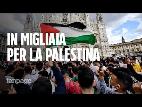 """Milano, migliaia di giovanissimi in piazza Duomo per i palestinesi: """"Vogliamo la nostra terra"""""""