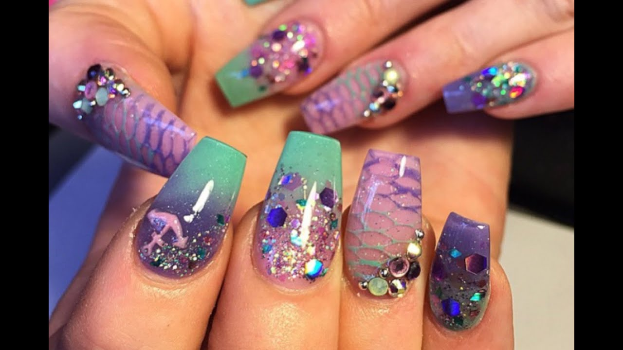 Mermaid Nail Tutorial - Mermaid Nail Tutorial - YouTube