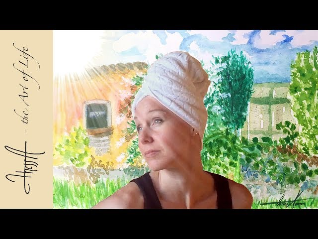 Hair washing day with soap in a bucket & speed painting water colour - Episode 5