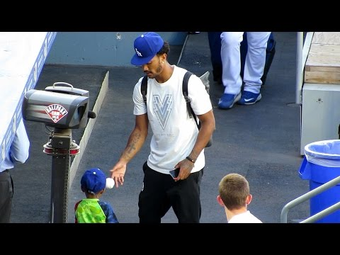 Derrick Rose and His Cute Son at @Dodgers