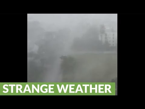 Tense footage of Hurricane Irma at Pompano Beach, Florida