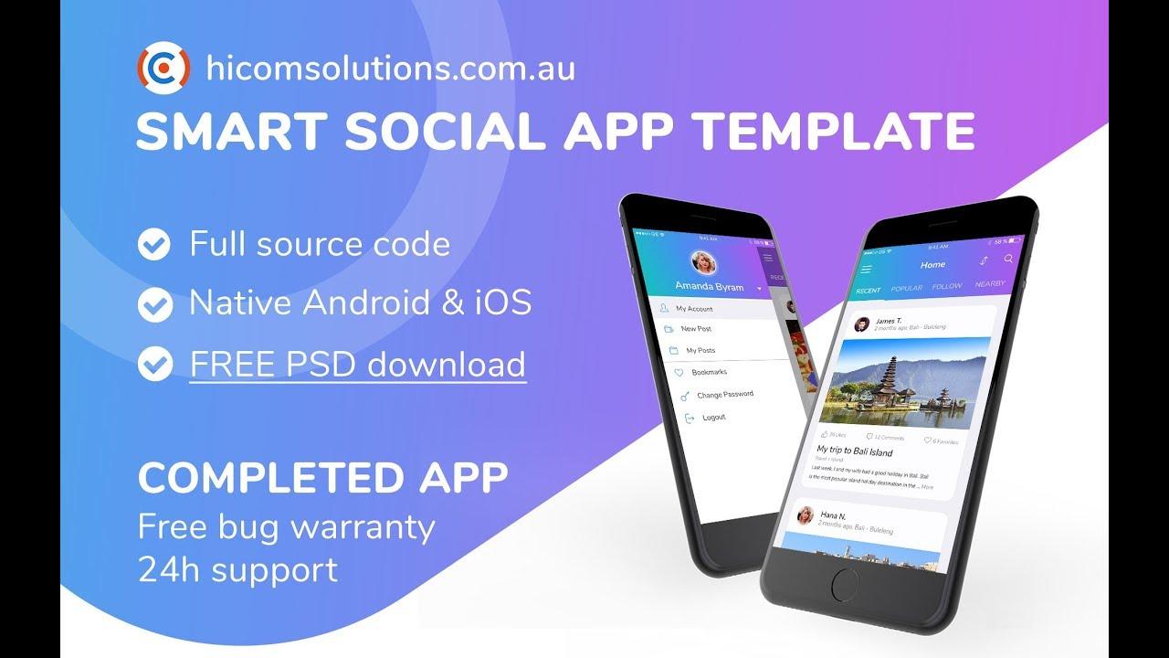 Social Network Mobile App Template, Script, Source Code for Sale