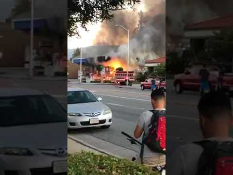 Lamborghini Sets Chevron Gas Station On Fire Youtube