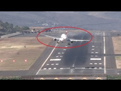 Dangerous Crosswind Storm Aborted Landings Go-Around Madeira Airport
