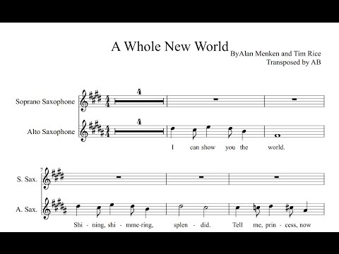 A Whole New World Sheet Music and   Sax Duet AltoSoprano