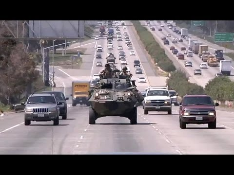 LAV-25 Amphibious Vehicle Rides On Highway