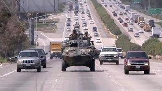 LAV-25 Amphibious Vehicle Rides On Highway