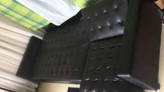 Black Leather Sectional Sofa Bed Demo
