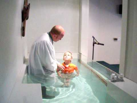 7 year old Bryce gets Baptised