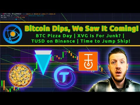 Bitcoin Dips, Saw It Coming | BTC Pizza Day | XVG For Junk? | TUSD on Binance | Time to Jump Ship!