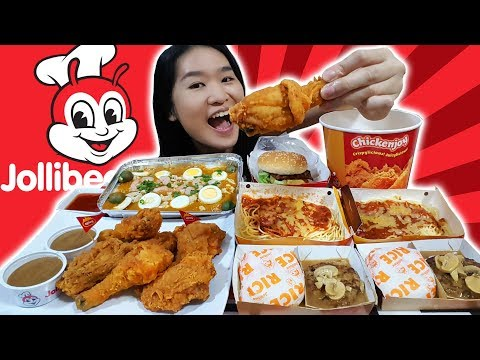 JOLLIBEE FEAST! Fried Chicken, Spaghetti, Burger Steak & Fiesta Noodles • Mukbang • Eating Show