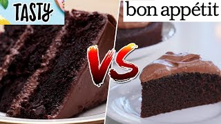 I TESTED Bon Appétit's Chocolate Cake VS Tasty's Ultimate Chocolate Cake - Viral Recipes Tested