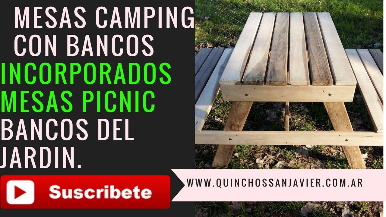 Mesa con banco de madera para jard n quincho ideas como for Guarda cosas para jardin