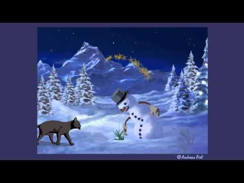 Animierte Weihnachts E-Card Katze baut Schneemann