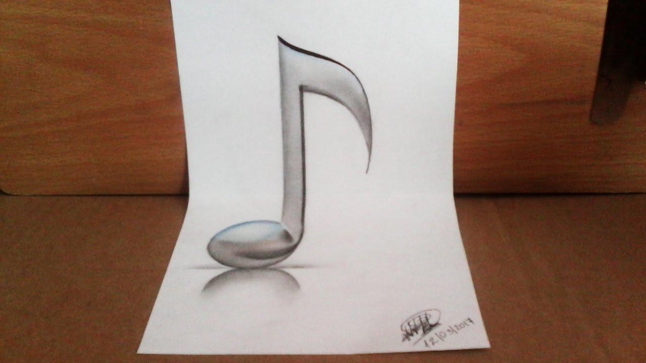 Como Dibujo Una Nota Musical En 3d Drawing Musical Note In 3d Hd