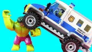 Lego Bank Robbers Attacked By Dog Joker Penguin Villains Get Launched Smashed By Hulk And Police