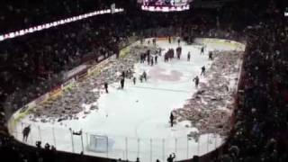 NHL***Watch as 25,003 Stuffed Animals Fly into a Hocky Rink for Christmas!!!***