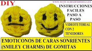 Repeat youtube video COMO HACER EMOJI UNA CARA SONRIENTE DE GOMITAS (SMILEY CHARMS) CON DOS TENEDORES. TUTORIAL DIY