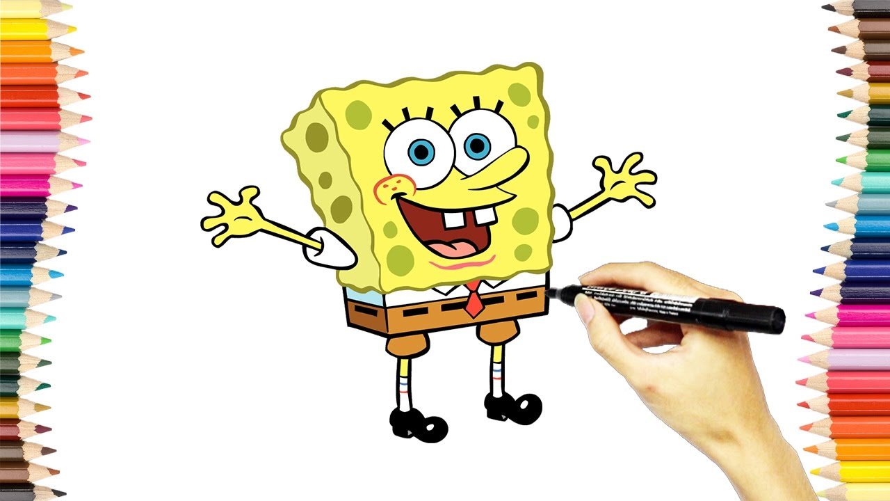 how to draw and coloring spongebob squarepants coloring pages