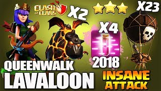 QueenWalk LAVALOON/Lavaloonion   HOW TO 3 STAR MAX TH11  Best Clan War Attack 2018   Clash Of Clans