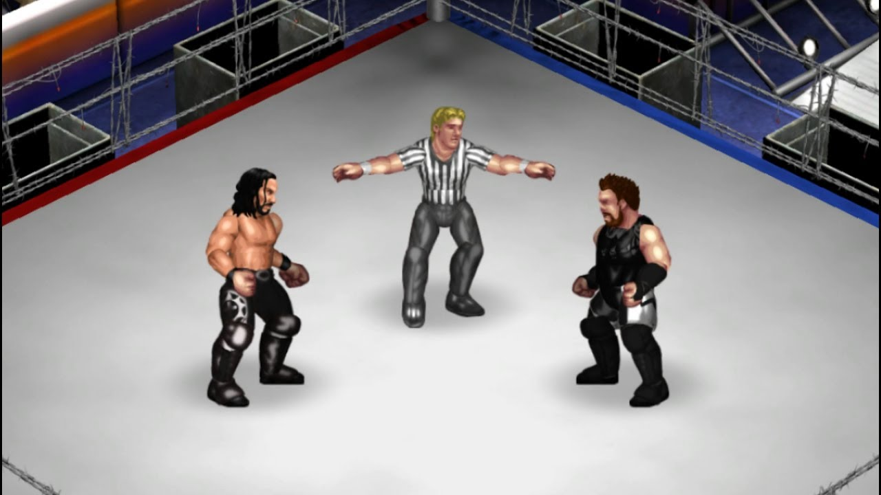 Fire Pro Wrestling World - Seth Rollins vs Kevin Owens [Barbed Wire  Deathmatch]