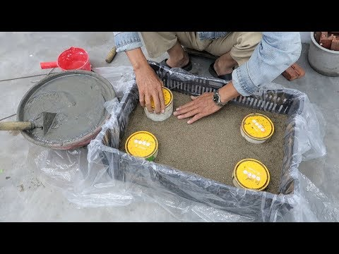 Fun And Ideas With Cement at Home - Plant Pot Combined Fish Tanks From Brick Broken And Cement