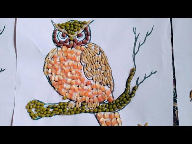 81 Kolase Gambar Burung Hantu Dari Biji2an Gratis