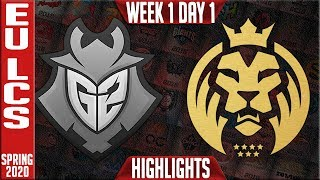 G2 vs MAD Highlights | LEC Spring 2020 W1D1 | G2 Esports vs MAD Lions