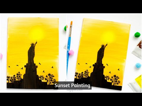 Sunset Painting Ideas|Acrylic on Canvas|Sunset Silhouette Painting Techniques|Beginner Painting