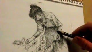 Time Lapse Speed Drawing  Demo - Balagio Gardener II