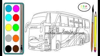 Menggambar dan Mewarnai Bus Rosalia Indah | Cara Menggambar Bus Rosalia Indah
