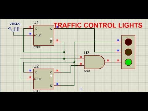 traffic lights using D type flip flopavi  YouTube