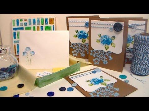 Elegant Blue Floral Stationery set {A Great Gift to Make!}